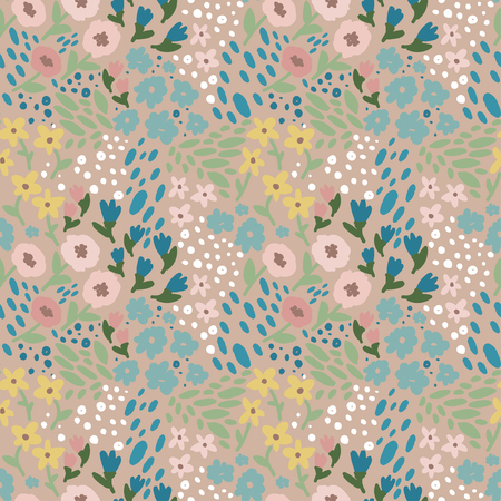A bright and happy floral seamless pattern, hand drawn style, vector illustration