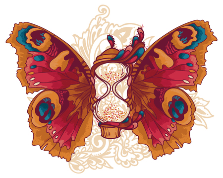beautiful hourglass with butterfly wings artistic vector illustration
