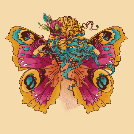Woman with flowers in her hair and butterfly wings, vector illustration Иллюстрация