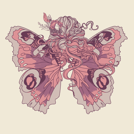 Woman with flowers in her hair and butterfly wings, vector illustration Illustration