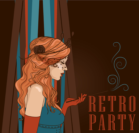 Woman with beautiful curly hair on poster for retro party illustration.