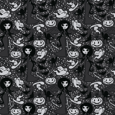 seamless pattern with cute doodle witches and traditional halloween things, cartoon style vector illustration Vectores
