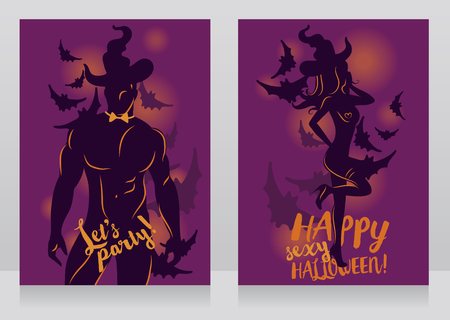 Banners for adult halloween party with sexy man and woman in witch hat and bat's silhouettes, vector illustration Иллюстрация