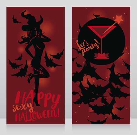Banners for adult halloween party with sexy woman in witch hat and glamor cocktail, vector illustration Illustration