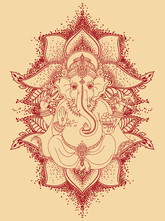 Lord Ganesha and royal ornament. Can be used as a card for celebration. Ganesh Chaturthi illustration. Illustration