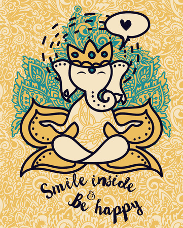 Doodle Ganesha, can be used as a card for celebration. Ganesh Chaturthi or as yoga banner illustration. Illustration