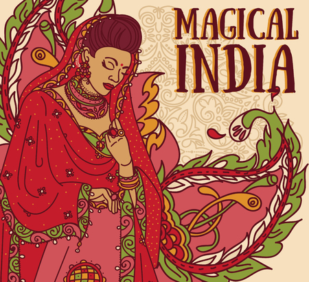 Poster for magical India with beautiful Indian woman in traditional saree and paisley ornament, vector illustration Illustration