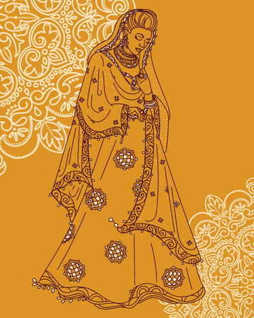 Portrait of a beautiful Indian woman in traditional saree. Illustration