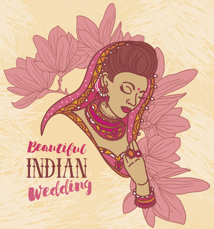 Beautiful Indian woman and floral frame, bride in traditional Indian dress.