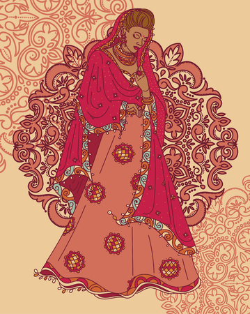 Poster for magical India with beautiful Indian woman in traditional saree and paisley ornament. Illustration