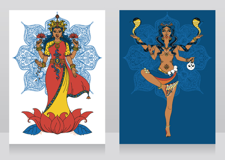 two cards with indian goddess Lakshmi and Kali and mandala round ornament, vector illustration