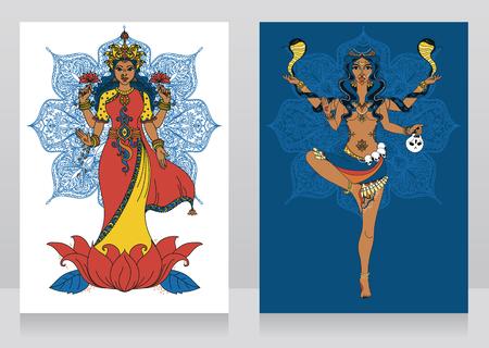 twee kaarten met Indiase godin Lakshmi en Kali en mandala ronde sieraad, vector illustratie