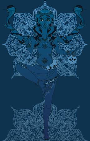 Dansende Indische godin Kali met twee slangen en traditioneel mandala om patroon, vectorillustratie