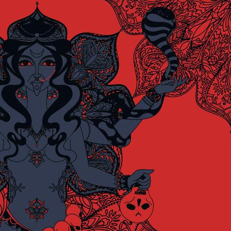 indian goddess Kali with snake, skull and mandala round ornament, vector illustration