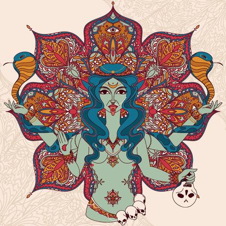 인도의 여신 Kali 두 뱀과 전통적인 만다라 라운드 패턴, 벡터 일러스트 레이 션을 춤 일러스트