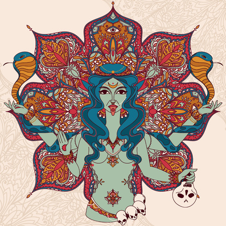 Dancing indian goddess Kali with two snakes and traditional mandala round pattern, vector illustration 版權商用圖片 - 93078072
