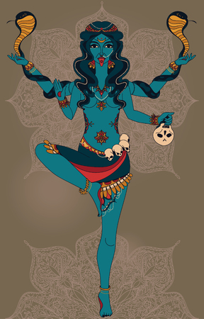 Dancing indian goddess Kali with two snakes and traditional mandala round pattern, vector illustration