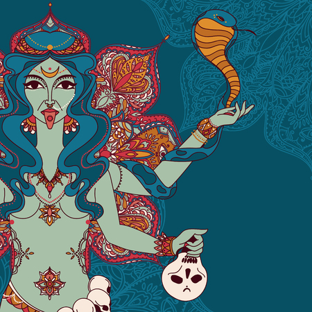 indian goddess Kali with snake, skull and mandala round ornament, vector illustration