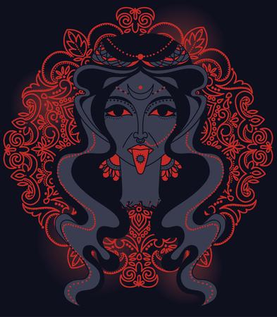 Portrait of indian goddess Kali, vector illustration Illustration
