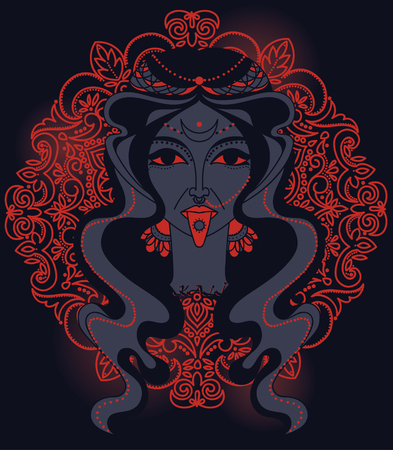 Portrait of indian goddess Kali, vector illustration Illustration