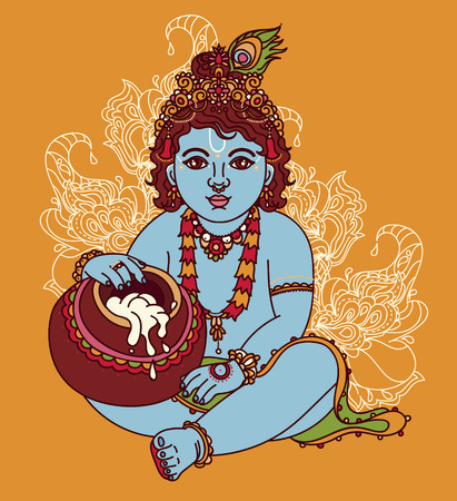 Little Krishna with a pot of butter, can be used as greeting card for Krishna birthday, vector illustration