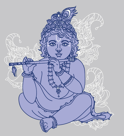 Little Krishna with the flute, can be used as greeting card for Krishna birthday, vector illustration Illustration