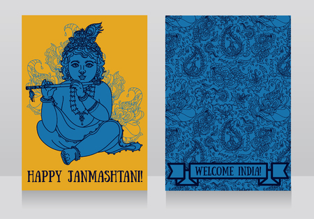 Little Krishna with the flute on the greeting cards for happy janmashtami, vector illustration