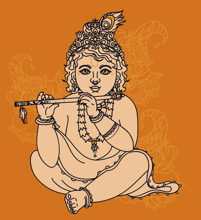 Little Krishna with the flute, can be used as greeting card for Krishna birthday, vector illustration  イラスト・ベクター素材