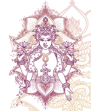 Indian goddess Lakshmi and royal ornament, can be used as a card for celebration Diwali festival, vector illustration Illustration