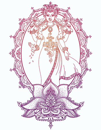 Indian goddess Lakshmi and royal ornament, can be used as a card for celebration Diwali festival, vector illustration Stock Illustratie