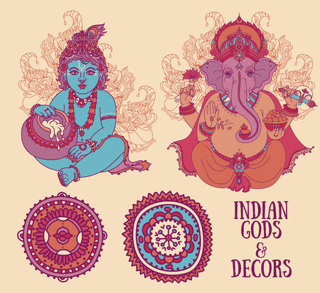 Set for indian holidays with Little Krishna and Lord Ganesha and ethnic ornaments, vector illustration
