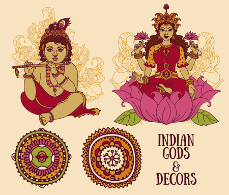 Set of vector illustrations with Little Krishna, Lakshmi and ethnic ornaments
