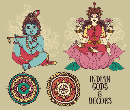 Set of vector illustrations with Little Krishna, Lakshmi and ethnic ornaments