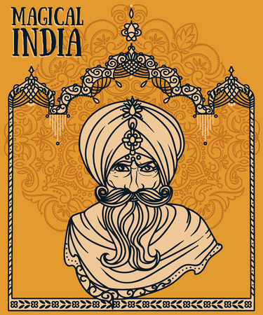 Portrait of Indian man in turban and traditional indian arch, vector illustration. Illustration
