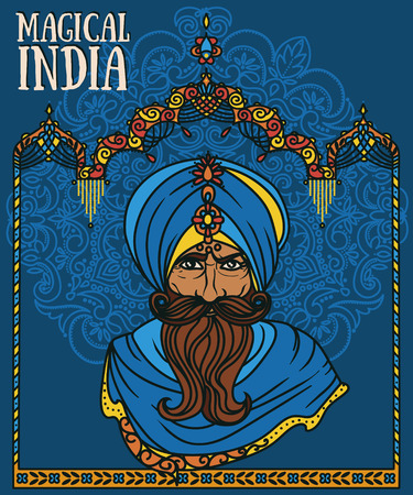 Portrait of Indian man in turban and traditional Indian arch, vector illustration.