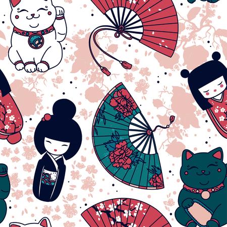 Modello senza cuciture con souvenir tradizionali asiatici: ventaglio fatto a mano, bambole kokeshi, maneki neko e fiori di sakura, illustrazione vettoriale Vettoriali