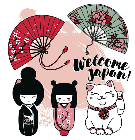 Set of cute traditional souvenirs of Japan: asian hand painting, kokeshi - wooden doll and maneki neko - cat with rised hand, vector illustration
