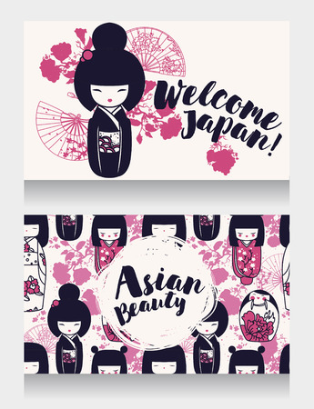 banners for asian beauty and travels with traditional asian wooden dolls - kokeshi - and sakura flowers, vector illustration