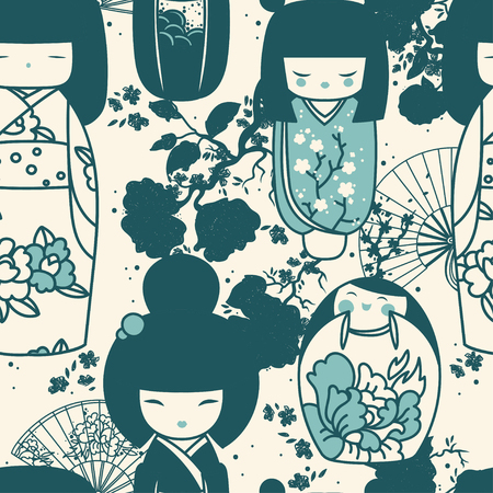 Seamles pattern with traditional japanese dolls - kokeshi and sakura flowers, vector illustration in cartoon style.