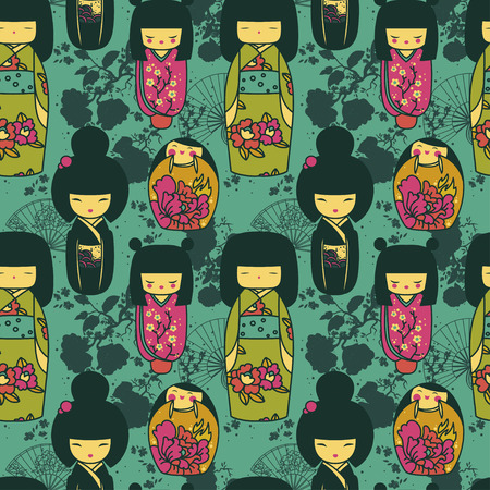 seamles pattern with traditional japanese dolls - kokeshi and sakura flowers, vector illustration in cartoon style