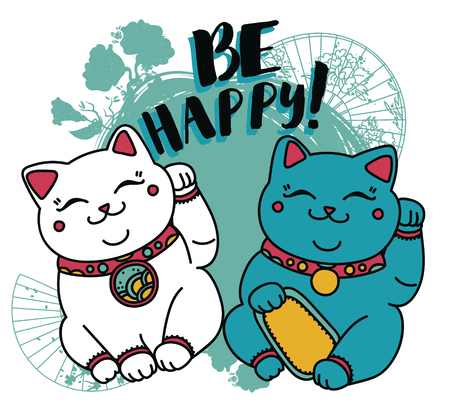 card with cute traditional Japanese symbol of luky - maneki neko, cats with a raised paw, can be used as greeting card for birthday or Asian holidays, vector illustration in cartoon style Vektoros illusztráció