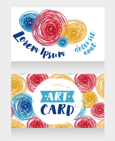 templates for business cards with colorful hand drawn circles, vector illustration Illustration