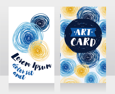 templates for business cards with blue and yellow circles, can be used as party invitation, van gogh