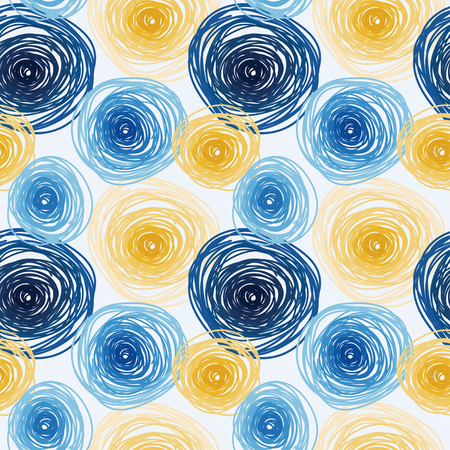 Seamless pattern with colorful circles, abstract tiled ornament, van gogh art style, vector illustration