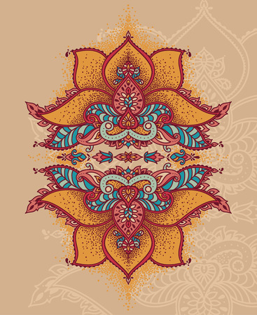 Royal magical ornament, stylized lotus flower in Indian style, can be used for tattoo  vector illustration