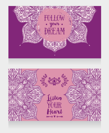 Two banners with gypsy style pattern, can be used as invitation for boho style party or greeting cards, vector illustration