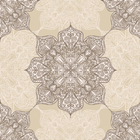 Seamless pattern with mandala ornament, gypsy style, vector illustration