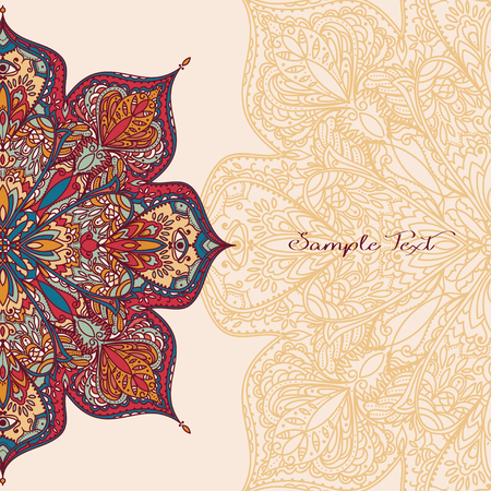 Poster with gypsy style round pattern and place for text, beautiful lace ornament, can be used as invitation or greeting cards, vector illustration