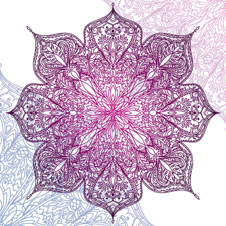 Beautiful round pattern, lace ornament in folkloric style, vector illustration