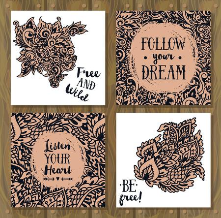 Satz Karten für Zigeunergeist mit Gekritzel-Fantasieverzierung, kann als Partyeinladungs- oder Motivationsplakate, Vektorillustration verwendet werden